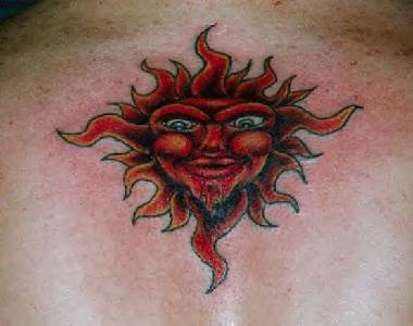 Red humanized sun tattoo
