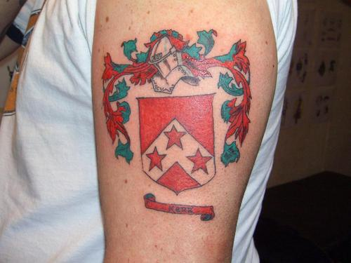 Red shield city emblem tattoo