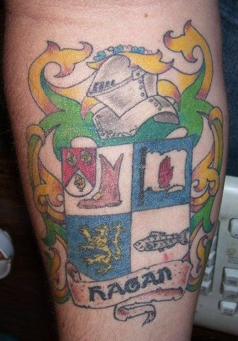 Family crest coloured tattoo