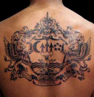 Large tattoo on back with heraldic emblems