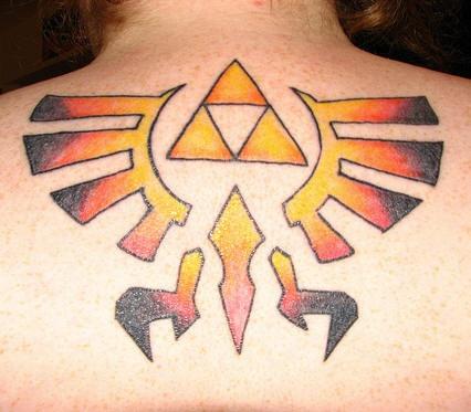 Coloured triforce symbol tattoo