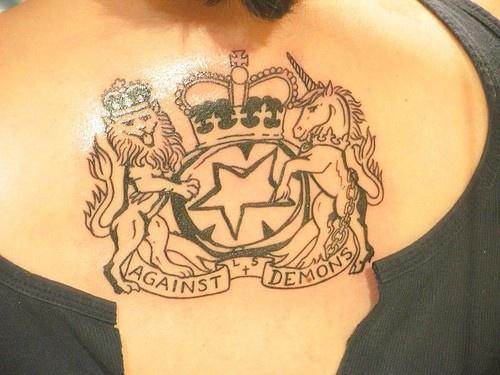 Against demons heraldic symbol on chest
