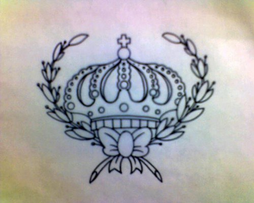 Winner crown black ink tattoo