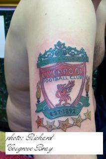 Liverpool fc emblem coloured tattoo
