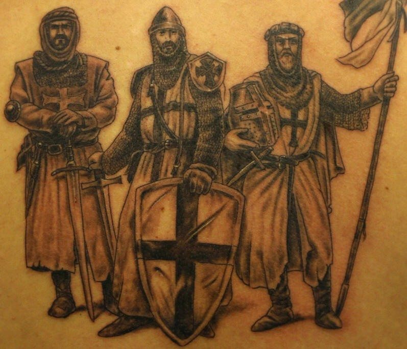 Christian crusaders tattoo with three warriors