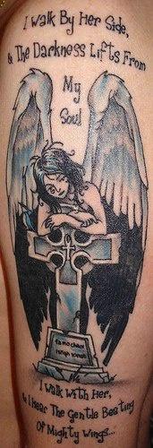 Angel on tombstone memorial tattoo