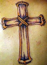 Wooden cross tattoo