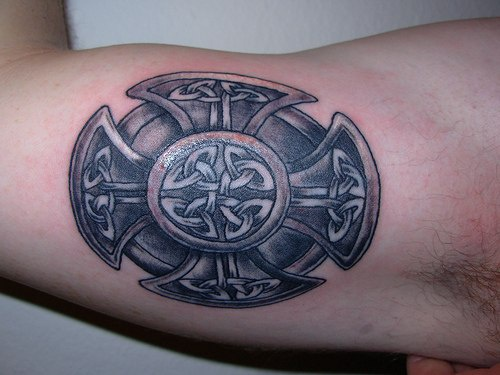 Celtic style maltese cross tattoo