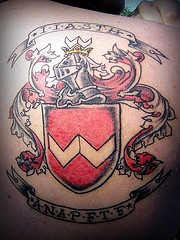 Heraldic shield with knight tattoo in colour