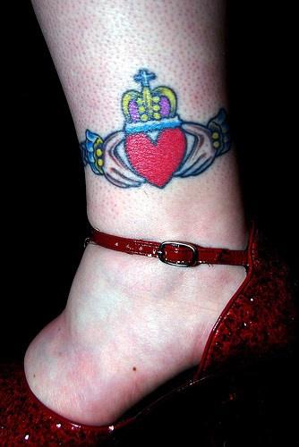 Crown Claddagh ring symbol on leg