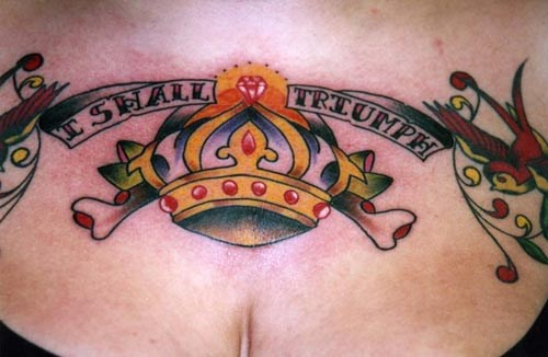 Motivating crown with sparrows tattoo
