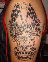 Racing flags with roses and crown tattoo