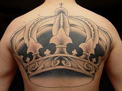 Large imperial crown full back tattoo