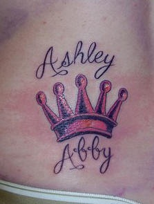Regular crown with name tattoo