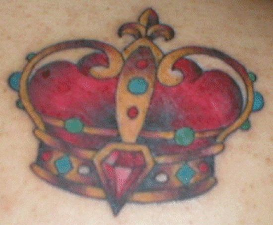 Red imperial crown with gems tattoo