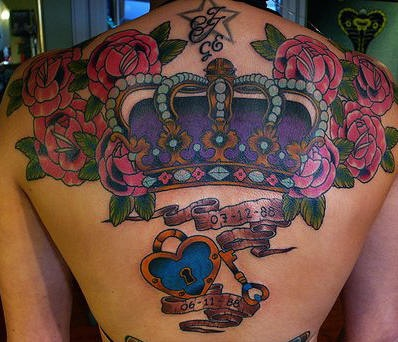 Royal crown with roses coloured tattoo on back