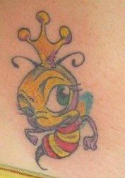 Cartoonish king bee tattoo