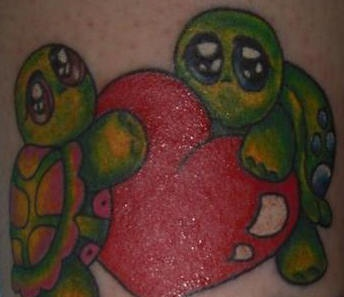 Cute Tattoo Of Two Turtles With Red Heart Tattooimages Biz