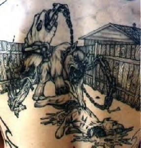 Cerberus black ink tattoo