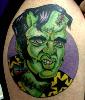 Elvis frankenstein tattoo