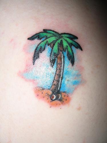 Tatuaggio piccolo la palma colorata