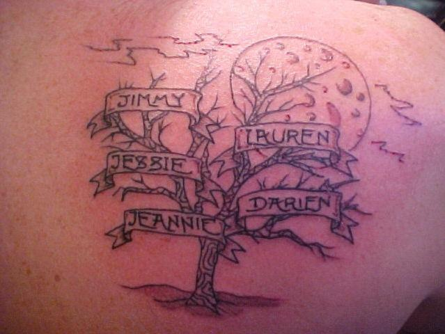 Dead tree tattoo with big moon and inscriptions