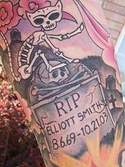 Cat cemetery coloured tattoo