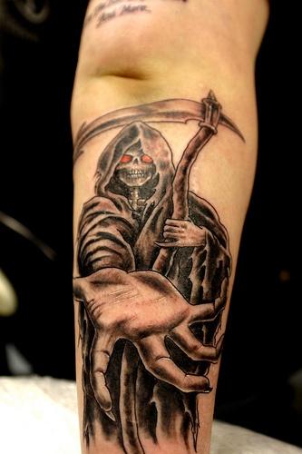 Take my hand death tattoo