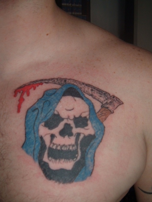 Laughing death tattoo in colour