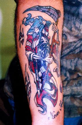 American flag grim reaper tattoo
