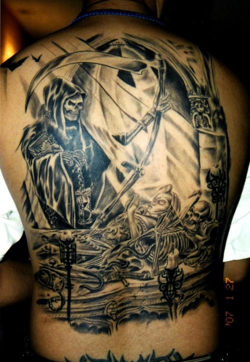 Death taking life full back artwork tattoo