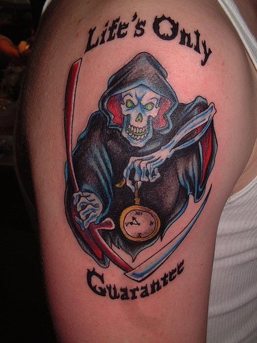 Death is waiting coloured tattoo