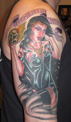 Memento mori the-dead coloured tattoo