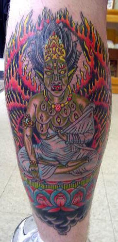 Indian death god tattoo in colour