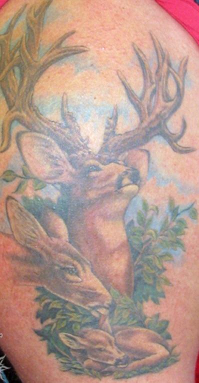 Deer family tattoo