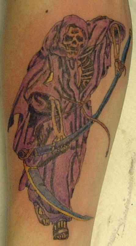 Grim reaper in purple cloak tattoo