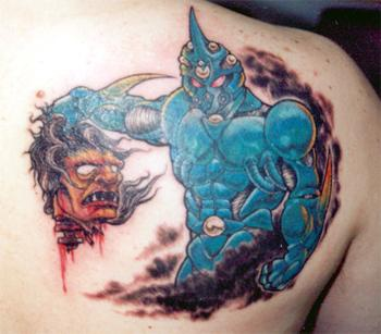 Blue knight with demon head tattoo