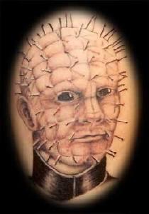 Pinhead face tattoo