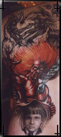 Epic red haired demon tattoo  on back