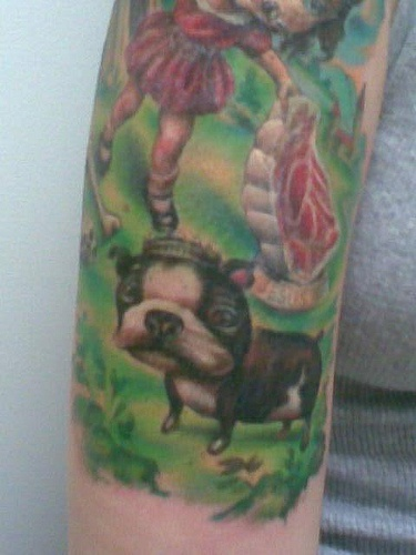 French bulldog on painting artwork tattoo