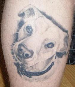 White puppy head realistic tattoo