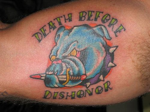 Death before dishonor coloured dog army tattoo