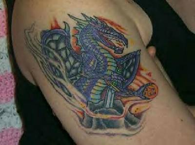 Middle age dragon with sword tattoo