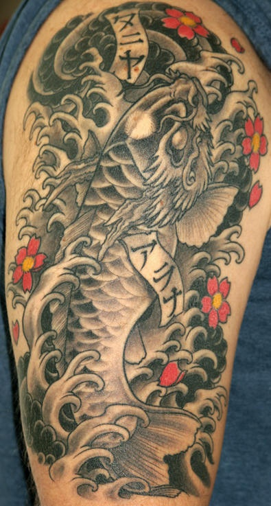 black dragon head koi fish tattoo