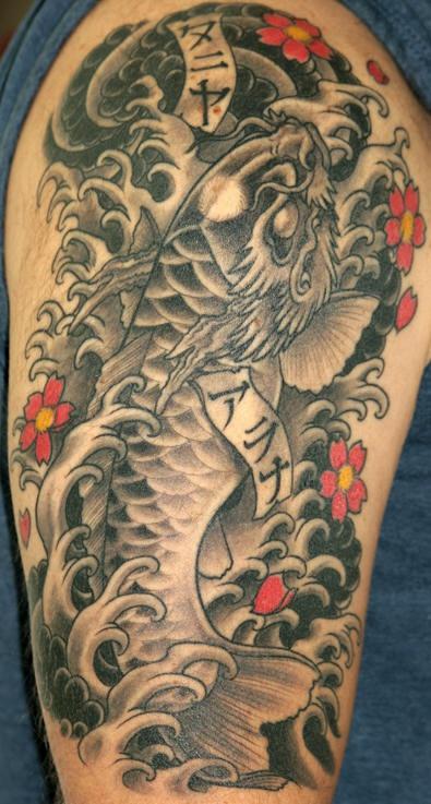 Black dragon head koi fish tattoo