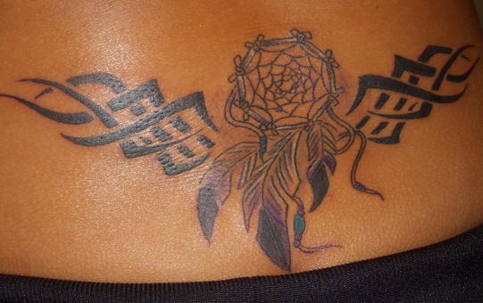 Lowerback tattoo styled dream catcher tribal for Lower back tribal tattoos