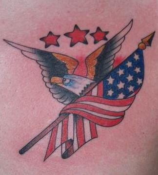 Stars eagle and american flag tattoo