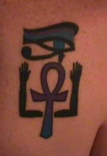 Wedjat eye ankh and hands egyptian symbol