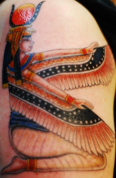 Egyptian isis deity coloured tattoo