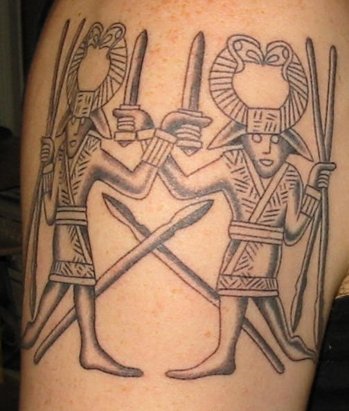 Two warriors tattoo in egyptian style